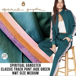 Spiritual Gangster Track Pant Green Crop NWT M